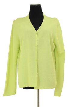 Eileen Fisher Lemon Yellow Rayon Buttoned Cardigan Sweater Size L