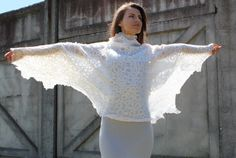 Felt silk and wool felted shawl 'White Swan' by doseth on Etsy, €80.00