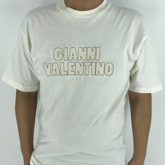 Excited to share this item from my #etsy shop: Gianni Valentino Italy Tshirt Large 90's Valentino Designer White Valentino Tee Spell Out Streetwear Tee Size L #womenvalentino #shortsleeve #whitevalentino #embroideryvalentino #designertshirt #vintagevalentino #valentinotshirt #mensvalentino #giannivalentino