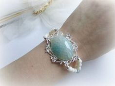 Agate dragon veins bracelet white coral by MalinaCapricciosa