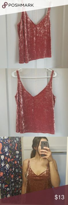 NWT Beauutiful Crushed Rose Velvet Retro Top Beautiful rose pink crushed velvet loose fitted low cut top from H&M. Such a cool, retro look, and comfy! A little big on me, never wore but think its lovely:) H&M Tops Camisoles