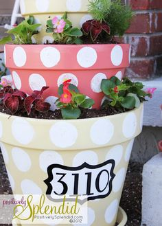 Polka Dot Flower Pots