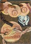 "Artist Trading Card using round watercolor tags. These were ""distressed"" with several colors of ink using a sponge, and then stamped."
