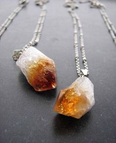 Raw Citrine Stone Pendant on Sterling by JacquelineRoseJewels  #citrine #jewelry