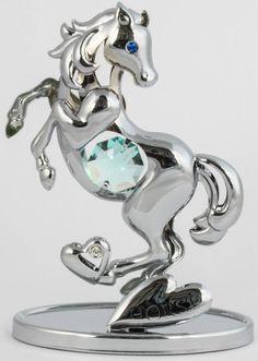 Pferd Figur / Statue chrome plattiert MADE WITH SWAROVSKI ELEMENTS - premium-kristall
