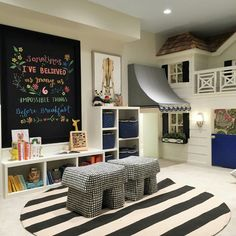 Black and cream stripes white playroom kid space