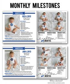 Record monthly milestones in your baby book! Include photos, memories, schedules, favorite toys and foods. Baby Photo Books, Baby Books, Baby Records, Monthly Baby Photos, Baby Journal, Baby Memories, Babies First Year, Baby Scrapbook, Memory Books