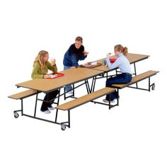 MBU12P Mobile Bench Cafeteria Table l Affordable Cafeteria Tables & Midwest Products