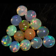 10 MM ! CALIBRATED NATURAL ETHIOPIAN OPAL ROUND SHAPE CABOCHON MULTI PLAY COLOR