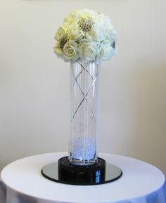Ivory Foam Roses with Brooches Table Centrepiece