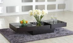 Modern Coffee Table with Storage and Glass Top New Orleans Louisiana [V560CT] : Prime Classic Design, modern Italian furniture: luxury designer and genuine leather sectionals, dining room and bedroom sets distributor