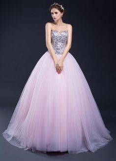In Stock Sweetheart Lace-up Pink Tulle Wedding Ball Gown Cheap Slivery  Sequined Top Quinceanera cc9afc916bae