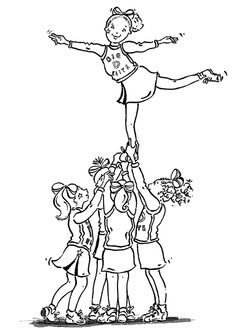 Printable coloring picture of Cheerleader for teenage