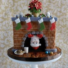 When your gingerbread house has been constructed and your Christmas cookies have been baked, it's time to turn your attention to a Christmas cake. Christmas Cake Designs, Christmas Cake Decorations, Christmas Cupcakes, Christmas Sweets, Holiday Cakes, Noel Christmas, Christmas Baking, Xmas Cakes, Christmas Fireplace