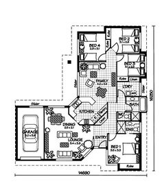 The Daydream « Australian House Plans Australian House Plans, Australian Homes, Porch House Plans, Architectural Floor Plans, Model House Plan, Single Story Homes, Container House Plans, House Blueprints, House Drawing