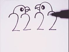 Numbers, Drawing Love Birds 🐦🖌 – Famous Last Words Easy Drawings For Kids, Art Drawings Sketches Simple, Pencil Art Drawings, Bird Drawings, Drawing For Kids, Cute Drawings, Art For Kids, Baby Drawing Easy, Simple Bird Drawing
