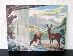 Wildlife And Mood Art Award Mid Century 1956 Vintage Paint by Number PBN Unframed Painting AtomicPutz.com