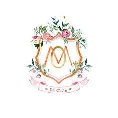 Personalised custom crest with monogram by ArabellaJuneDesign Watercolor Logo, Watercolor Cards, Wedding Logos, Wedding Stationery, Branding Design, Logo Design, Graphic Design, M Monogram, Chalk Design
