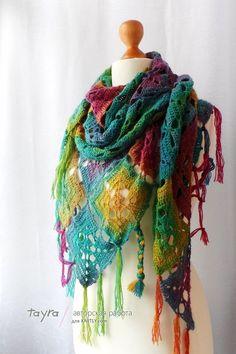 Delicadezas en crochet Gabriela: Chal explosión de color.