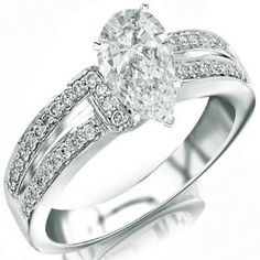 1.31 Carat Pear Cut / Shape 14K White Gold Twisting Split Shank Contemporary Diamond Engagement Ring ( J Color , SI1 Clarity ) - http://finejewelrygalleria.com/jewelry/wedding-anniversary/engagement-rings/131-carat-pear-cut-shape-14k-white-gold-twisting-split-shank-contemporary-diamond-engagement-ring-j-color-si1-clarity-com/