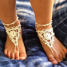 Childrens crochet barefoot sandals flower girl shoes by Indigoskyecrochet hippie kids bohemian