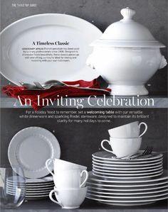 Interior Photo, Timeless Classic, Porcelain, Ceramics, Dining, Cookware, Holiday, Food, Ceramica