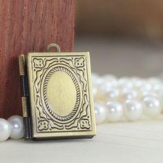 Locket- 10pcs brass antique bronzed rectangle book locket charm pendant wholesale, 26x19mm