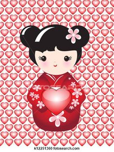 Kokeshi doll with heart clipart #Japanese #girl #doll