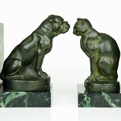 "Rare MAX LE VERRIER 1930s French ART DECO BOOKENDS Cat & Dog ""CHAT ET DOGUE"" 