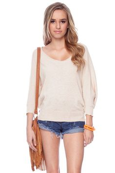 Open Wide Ribbed Sweater in Peach $48 at www.tobi.com