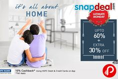 Snapdeal #Diwali #offers upto 60% + extra 30% off on Home Products. Additional 10% cashback using HDFC credit & debit card and Rs.500 Cashback freecharge on debit & credit card or Netbanking.  http://www.paisebachaoindia.com/get-upto-60-extra-30-off-on-diwali-home-snapdeal/