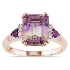 Miadora Rose Plated Silver 3 1/2ct TGW Ametrine, Amethyst and Diamond Ring   Overstock.com Shopping - The Best Deals on Gemstone Rings