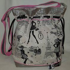 kreameline Le voilà terminé 😁 Un joli sac seau modèle Calypso patron #sacotin  Toile de coton #moiParis et simili merlin gris nacré. 🗼💋💝 Bandoulière réglable, deux poches intérieures, fermeture par double biais.😍