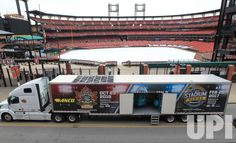 A portable ice plant arrives at Busch Stadium in St. Louis on December 15, 2016. The ice plant will be used to make the ice for the 2017…
