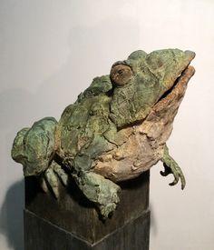 Big frog , bronze sculpture by Pieter Vanden Daele