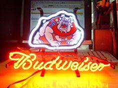 NCAA FRESNO BULLDOGS BUDWEISER BUD NEON LIGHT SIGN IF045