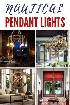 Discover the best nautical themed pendant lighting for your beach home. We love hanging nautical light fixtures in a home. Nautical Bathroom Design Ideas, Nautical Bathrooms, Nautical Home, Hanging Light Fixtures, Hanging Lights, Unfinished Wood Furniture, Nautical Pendants, Nautical Lighting, Room Lights