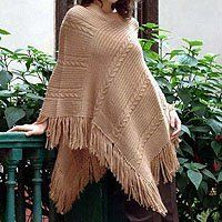 NOVICA Alpaca blend poncho, 'Double Beige Braids' by NOVICA. $94.95. Braids add texture to a smooth jersey knit marching in pairs across this versatile wrap. Alfredo Falcon creates a poncho for all seasons. Working in a luxurious alpaca wool blend he borders the warm cloak with lavish fringe.