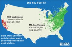 Did You Feel It? East vs West: This image illustrates how earthquakes are felt over much larger areas in the eastern U.S. than those west of the Rocky Mountains. The map compares USGS