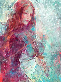 pretty/art/violin/girl