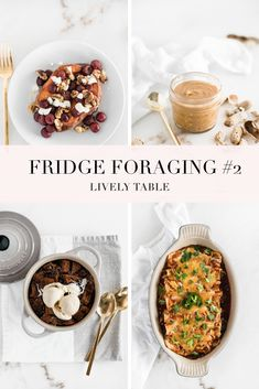 In the second installment of fridge foraging, I make leftover barbacoa beef enchiladas, chocolate bread pudding for homemade peanut butter, artichoke white bean soup, and roasted grape and goat cheese stuffed sweet potatoes. Breakfast For A Crowd, Breakfast Bar Kitchen, Breakfast Bowls, Breakfast Bread Puddings, Whole Food Recipes, Healthy Recipes, Healthy Food, Homemade Peanut Butter, Feel Good Food
