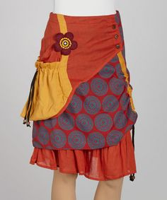 Take a look at this Rust Arabesque Patchwork Peasant Skirt by Coline USA on #zulily today!