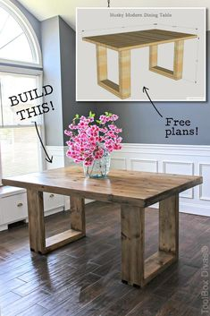 How to build a chunky modern dining table. Free plans by Jen Woodhouse room table diy DIY Husky Modern Dining Table Diy Furniture Table, Diy Furniture Plans Wood Projects, Modern Dining Table, Furniture Makeover, Furniture Storage, Furniture Ideas, Dining Bench, Walnut Dining Table, Kitchen Tables