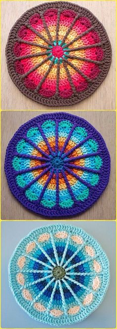 Crochet Spoke Mandala Potholder Free Pattern - Crochet Pot Holder Hotpad Free Patterns