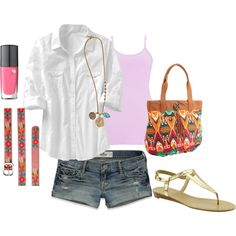 denim shorts, white tab sleeve shirt, metallic sandals & pink