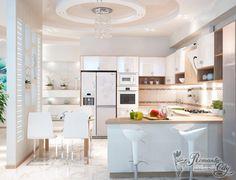 дизайн кухни объединенной с гостиной в современном стиле