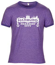 INDIVIDUELLES + COOLES HAMBURG PARADISE CITY SKYLINE ZWEIFARBIGES T-SHIRT!