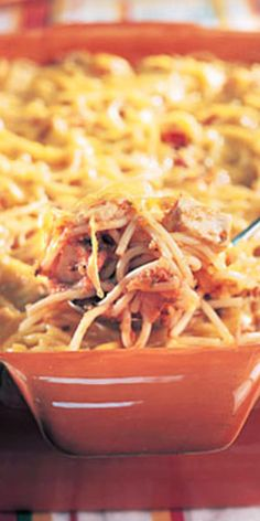 Cheesy Chicken Spaghetti  - Choose high-fiber whole grain pasta to reduce the impact on your blood sugar.