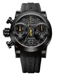 Graham Swordfish Booster Black Left Yellow $9,000 #GrahamSwordfish #watch #chronograph #watches 46 mm steel with balck PVD case