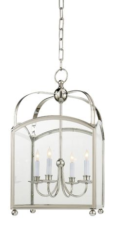 """I think a pair of these over my kitchen island would be stunning.  I especially love that the polished nickel finish is a bit more unexpected than an iron finish. Small measures 24""""h 14.5""""w $1260."""
